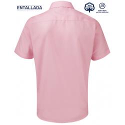 Camisa Hombre Sin Plancha Manga Corta Entallada 100% Algodón THE NON IRON COMPANY